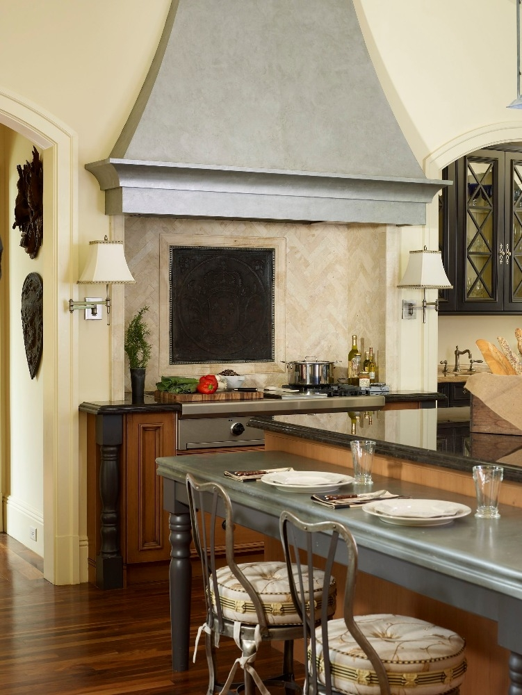 Kitchen island and range at the Meadowood project. Curated by Kristin Mullen