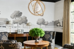 Masculine sitting room with custom mural, dramatic light fixture and coffered ceiling with black glossy paint.  Interiors - Curated by Kristin Mullen.