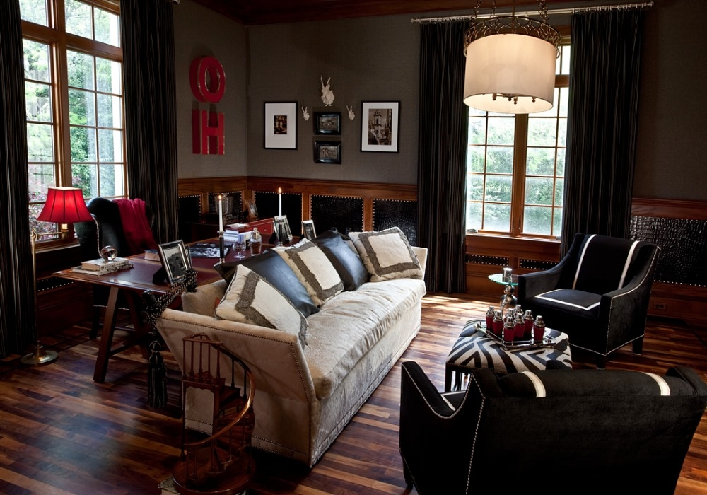 Den at the 'Meadowood Project' is masculine and cozy. Notice the leather wainscot and nailheads... Curated by Kristin Mullen